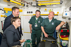Pictured: Ruth Davidson; Richard Paton; Callum Johnston (beard) and Mike Briggs.<br /> <br /> Scottish Conservative leader Ruth Davidson, MSP,  joined shadow health secretary Miles Briggs to launch the party's Health Advisory Board at the Scottish ASmbulance Service Southeast Divisional HQ.  Ms Davidson and Mr Briggs were shown the equipment in the average ambulance by Richard Paton, Ambulance Service manager and Callum Johnston, Specialist medic.<br /> <br /> Ger Harley | EEm 6 September 2017