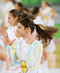 Cheerleaders Dragon Ladies perform during basketball match between KK Union Olimpija and KK Zadar in 17th Round of ABA League 2012/13 on January 13, 2013 in Arena Stozice, Ljubljana, Slovenia. (Photo By Vid Ponikvar / Sportida.com)