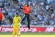 Wicket - Chris Jordan of England celebrates taking the wicket of Glenn Maxwell of Australia during the International T20 match between England and Australia at Edgbaston, Birmingham, United Kingdom on 27 June 2018. Picture by Graham Hunt.