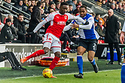 Fleetwood Town Aiden O'Neill (4) and Blackburn Rovers Ryan Nyambe (2) during the EFL Sky Bet League 1 match between Fleetwood Town and Blackburn Rovers at the Highbury Stadium, Fleetwood, England on 20 January 2018. Photo by Michal Karpiczenko.