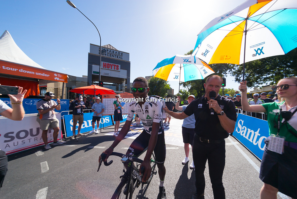 Nicholas Dlamini after sign on of Stage 4, Norwood to Uraidla, of the Tour Down Under, Australia on the 19 of January 2018 ( Credit Image: © Gary Francis / ZUMA WIRE SERVICE )