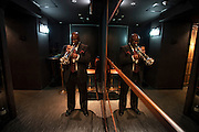 Endre Rice warms up offstage at the Blue Note Tokyo,  Count Bassie Orchestra