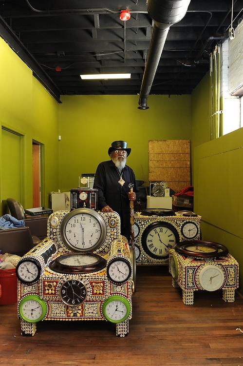 Artist David Philpot with his watch art in Detroit, Michigan, USA.<br /> <br /> Art in Detroit 2013<br /> &copy; Stefan Falke<br /> www.stefanfalke.com