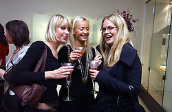Left to right, TICKY HEDLEY-DENT, MARTHA WARD and CAMILLA LONG at a party in aid of Age Concern hosted by Boodles, 1 Sloane Street, London on 31st October 2006.<br />