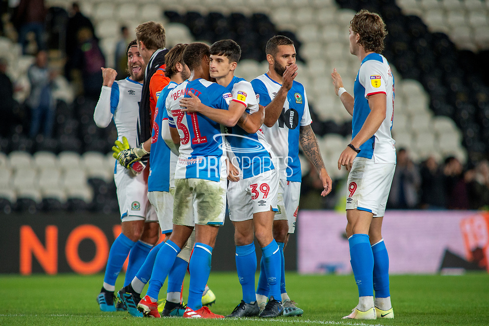 Blackburn Rovers celebrate at full time as they beat Hull City 0-1 during the EFL Sky Bet Championship match between Hull City and Blackburn Rovers at the KCOM Stadium, Kingston upon Hull, England on 20 August 2019.