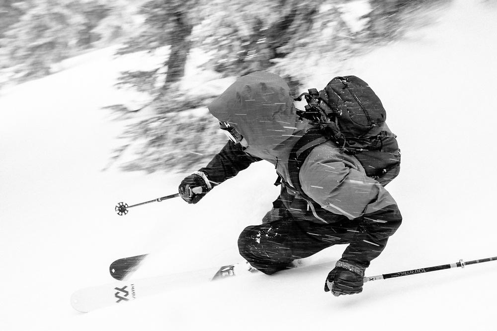Forrest Jillson skiing backcountry powder in the Teton backcountry.