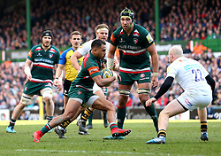 Telusa Veainu of Leicester Tigers takes in Joe Simpson of Wasps - Mandatory by-line: Robbie Stephenson/JMP - 25/03/2018 - RUGBY - Welford Road Stadium - Leicester, England - Leicester Tigers v Wasps - Aviva Premiership