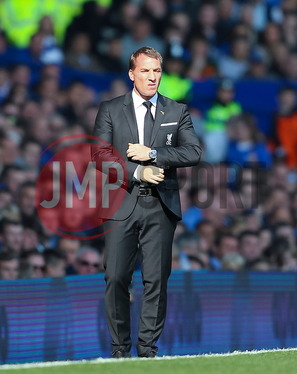 Liverpool Manager, Brendan Rodgers during his final game in charge of the club  - Mandatory byline: Matt McNulty/JMP - 07966 386802 - 04/10/2015 - FOOTBALL - Goodison Park - Liverpool, England - Everton  v Liverpool - Barclays Premier League