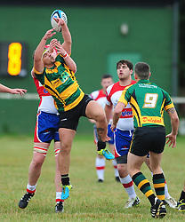 WELLINGBOROUGH DAN PATEMAN HOLDS OF BUGBROOKES S. McQUARRIE, Wellingborough Rugby RFC v Bugbrooke RFC, Midlands 1 East League, Cut Throat Lane Gound, Gt Doddington, Saturday 3rd September 2016