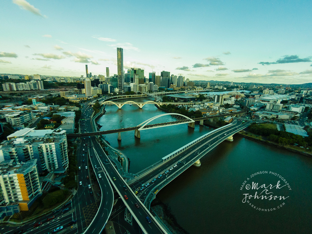 Aerial photograph of Brisbane city and the bridges over the Brisbane River, Queensland, Australia