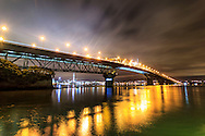 night view of auckland harbour bridge