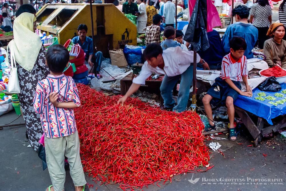 West Sumatra, Padang. Hot stuff; a big pile of chili at Pasar Raya, the main food market in Padang.