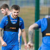 St Johnstone Training….<br />Matty Kennedy pictured during training at McDiarmid Park ahead of Sunday's game against Rangers<br />Picture by Graeme Hart.<br />Copyright Perthshire Picture Agency<br />Tel: 01738 623350  Mobile: 07990 594431