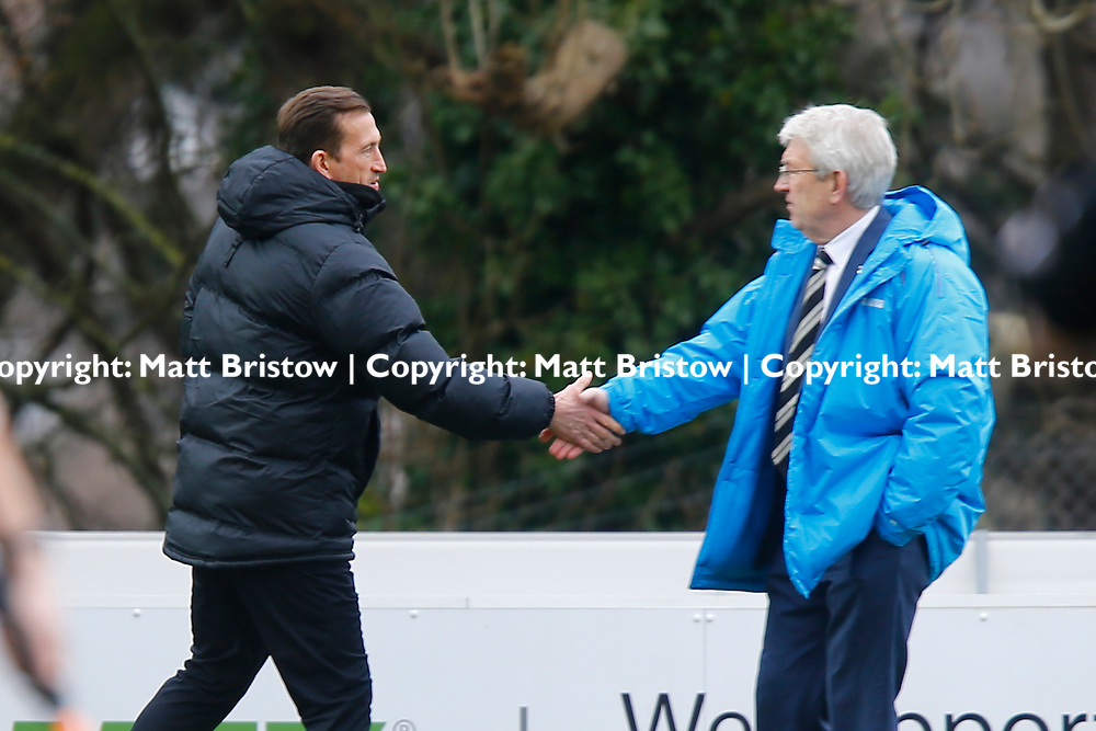 Leyton Orient's manager Justin Edinburgh and Dover's manager Chris Kinnear shake hands during the The FA Trophy match between Dover Athletic and Leyton Orient at Crabble Stadium, Kent on 3 February 2018. Photo by Matt Bristow.