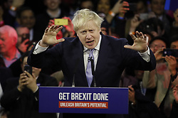 © Licensed to London News Pictures. 11/12/2019. London, UK. Prime Minister Boris Johnson speaks at a final election rally in the Copper Box Arena at the Queen Elizabeth Olympic Park. Supporters and party workers have gathered to hear The Prime Minister speak on the last day of campaigning. Voting in the general election will start at 7am tomorrow. Photo credit: Peter Macdiarmid/LNP