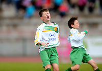 13 Aug 2016:  Gavin McCarron, left, Donegal, reacts after missing a shot on goal.  Boys U12 semi-final, Galway v Donegal.  2016 Community Games National Festival 2016.  Athlone Institute of Technology, Athlone, Co. Westmeath. Picture: Caroline Quinn