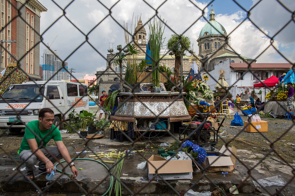 People setting up their floats in preparation for the Grand Marian Parade in Intramuros, Manila, Metro Manila, Philippines. The Intramuros Grand Marian Procession is an annual procession on the first Sunday of December that honours the Feast of the Immaculate Conception. (photo by Andrew Aitchison / In pictures via Getty Images)