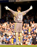 Photo. Jed Wee.<br /> Everton v Leeds United, FA Barclaycard Premiership, Goodison Park, Liverpool. 28/09/2003.<br /> Everton goalkeeper, until recently a Leeds player, celebrates a goal against his former team.