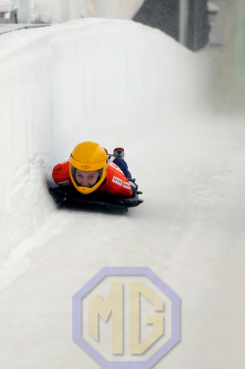 14 December 2007:  Annie O'Shea of the United States competes at the FIBT World Cup Women's skeleton competition on December 14, 2007 at the Olympic Sports Complex in Lake Placid, NY.  The race was won by Katie Uhlander of the United States.