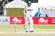 50 - Hassan Azad acknowledges the crowd on reaching 50 during the Specsavers County Champ Div 2 match between Gloucestershire County Cricket Club and Leicestershire County Cricket Club at the Cheltenham College Ground, Cheltenham, United Kingdom on 18 July 2019.