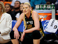 Sep 17, 2011; Phoenix, AZ, USA; Seattle Storm forward Lauren Jackson (15)  reacts from the bench while playing against the Phoenix Mercury during the first half at the US Airways Center.  Mandatory Credit: Jennifer Stewart-US PRESSWIRE