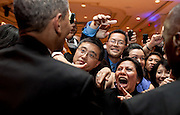 08.MAY.2012. WASHINGTON D.C.<br /> <br /> PRESIDENT BARACK OBAMA GREETS PEOPLE IN THE AUDIENCE AFTER DELIVERING THE KEYNOTE ADDRESS AT THE ASIAN PACIFIC AMERICAN INSTITUTE FOR CONGRESSIONAL STUDIES 18TH ANNUAL GALA DINNER IN WASHINGTON, D.C., MAY 8, 2012. <br /> <br /> BYLINE: EDBIMAGEARCHIVE.CO.UK<br /> <br /> *THIS IMAGE IS STRICTLY FOR UK NEWSPAPERS AND MAGAZINES ONLY*<br /> *FOR WORLD WIDE SALES AND WEB USE PLEASE CONTACT EDBIMAGEARCHIVE - 0208 954 5968*