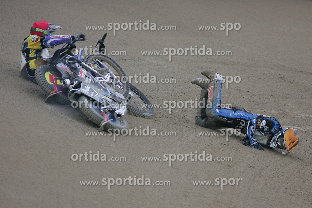 Tobias Busch of Germany and Jurica Pavlic crached at Speedway European Championship race semi finals of individuals, on June 19, 2010, in Sportni park Ilirije, Ljubljana, Slovenia. (Photo by Urban Urbanc / Sportida)