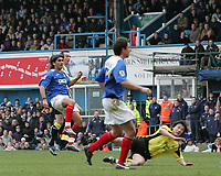 Photo: Lee Earle.<br /> Portsmouth v Manchester City. The Barclays Premiership. 11/03/2006. Pompey's Pedro Mendes (L) scores their second.