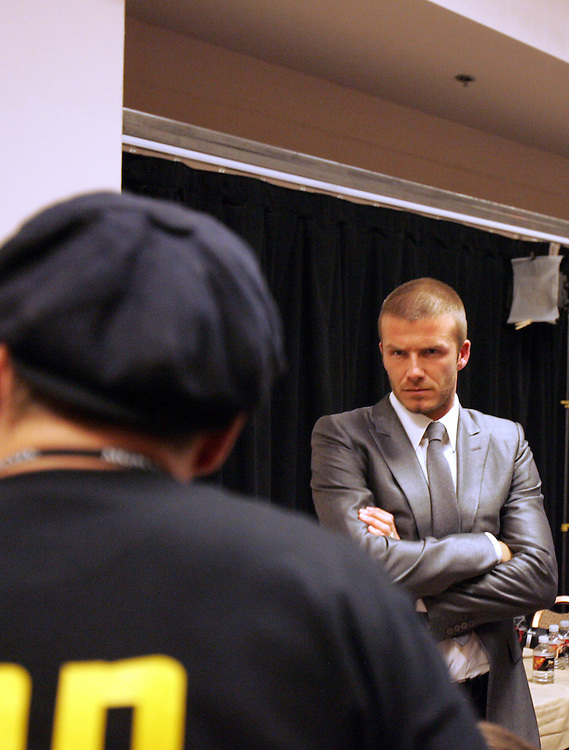 David Beckham watches as Ricky Hatton has his hands wrapped. Ricky Hatton v Floyd Mayweather, Las Vegas, Nevada.