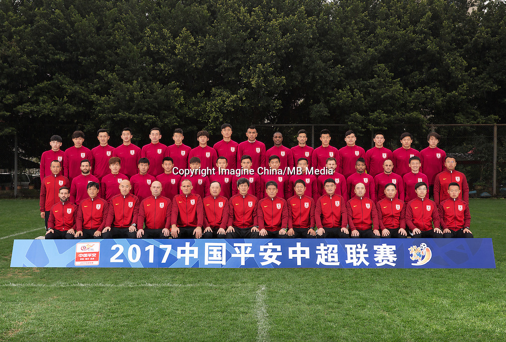 Group shot of players of Changchun Yatai F.C. for the 2017 Chinese Football Association Super League, in Chongqing, China, 24 February 2017.