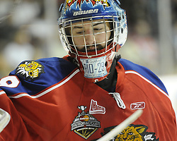 Moncton Wildcats goaltender Nicola Riopel Game 2 of the 2010 MasterCard Memorial Cup in Brandon, MB on Saturday May 15, 2010. Photo by Aaron Bell/CHL Images