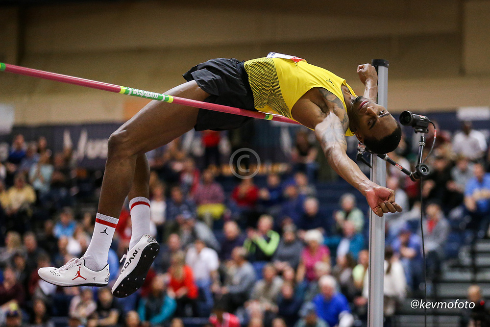 2020 USATF Indoor Championship<br /> Albuquerque, NM 2020-02-14<br /> photo credit: © 2020 Kevin Morris<br /> mens high jump, Brand Jordan,