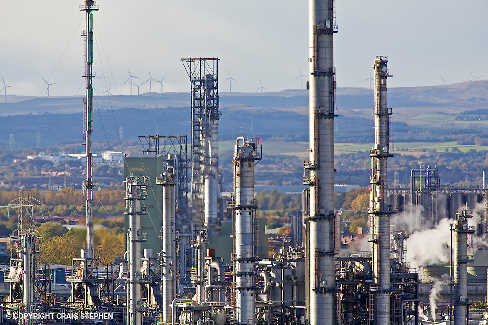 Close up of Grangemouth oil refinery, Scotland