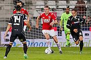 ALKMAAR - 26-09-2015, AZ - Heracles Almelo, AFAS Stadion, 3-1, AZ speler Ben Rienstra (m), Heracles Almelo speler Jaroslav Navratil (r), Heracles Almelo speler Joey Pelupessy.
