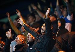 Bristol Rovers fans celebrate - Photo mandatory by-line: Matt Bunn/JMP - Tel: Mobile: 07966 386802 12/10/2013 - SPORT - FOOTBALL - Field Mill - Mansfield - Mansfield Town V Bristol Rovers - Sky Bet League 2