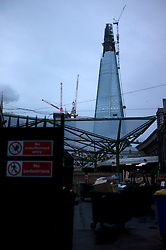 UK ENGLAND LONDON 1DEC11 - View of the Shard skyscraper under construction at London Bridge Station, central London...When completed in May 2012, it will be the tallest building in the European Union and the 45th-tallest building in the world, standing 310 m (1,017 ft) tall.....jre/Photo by Jiri Rezac....© Jiri Rezac 2011