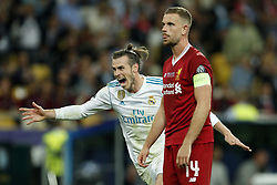 (L-R) Gareth Bale of Real Madrid, Jordan Henderson of Liverpool FC during the UEFA Champions League final between Real Madrid and Liverpool on May 26, 2018 at NSC Olimpiyskiy Stadium in Kyiv, Ukraine