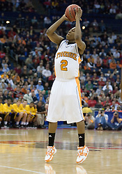 Tennessee Volunteers guard JaJuan Smith (2) shoots a three pointer against Long Beach State.  The #5 seed Tennessee Volunteers defeated the #12 seed Long Beach State 49ers 121-86  in the first round of the Men's NCAA Tournament in Columbus, OH on March 16, 2007.