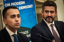 September 29, 2018 - Rome, Italy, Italy - Minister Luigi di Maio of Economic Development and Minister of Labour and Social Policies, as well as Vice President of the Council of Ministers and Minister Riccardo Fraccaro for relations with Parliament and direct democracy in the Count's Government, leave statements to the press after the final summit of the 2018 global forum, on the agreement on the Def: 2.4% deficit. on September,29 2018 in Rome, Italy. (Credit Image: © Andrea Ronchini/NurPhoto/ZUMA Press)