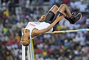 Mutaz Essa-Barshim (QAT) wins the high jump at 7-10 1/4 (2.40m) in the 2018 IAAF Doha Diamond League meeting at Suhaim Bin Hamad Stadium in Doha, Qatar, Friday, May 4, 2018. (Jiro Mochizuki/Image of Sport)