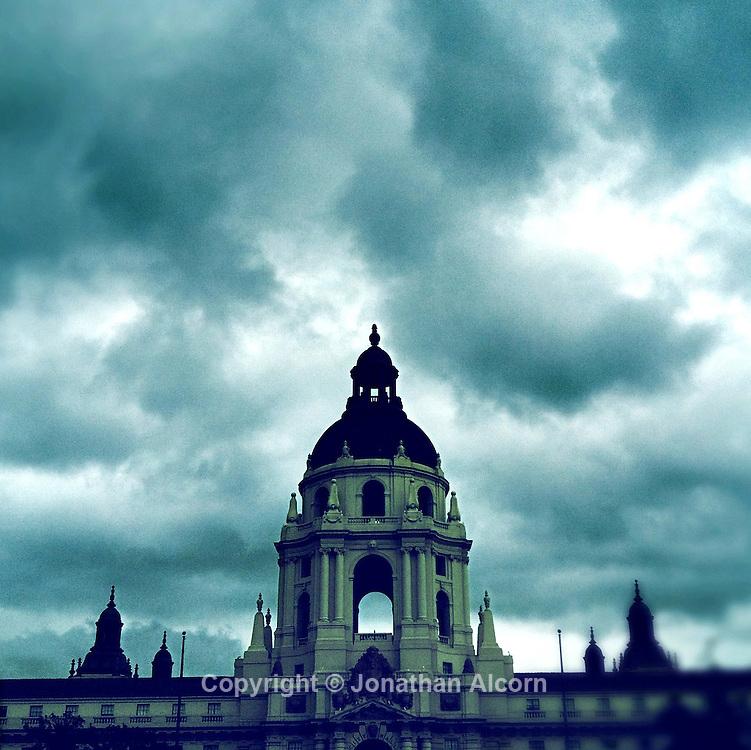 Pasadena City Hall on a rainy day,  Pasadena, California on February 15, 2012.