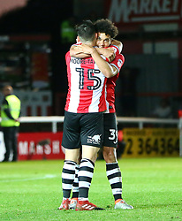 Troy Brown of Exeter City celebrates with Jordan Moore-Taylor of Exeter City - Mandatory by-line: Gary Day/JMP - 18/05/2017 - FOOTBALL - St James Park - Exeter, England - Exeter City v Carlisle United - Sky Bet League Two Play-off Semi-Final 2nd Leg