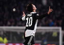TURIN, Nov. 27, 2019  FC Juventus' Paulo Dybala celebrates his goal during the UEFA Champions League Group D match between FC Juventus and Atletico Madrid in Turin, Italy, Nov. 26, 2019. (Photo by Federico Tardito/Xinhua) (Credit Image: © Cheng Tingting/Xinhua via ZUMA Wire)