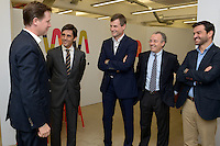 Jose Maria Alvarez Pallete &ndash; COO Telefonica, Ronan Dunne, CEO O2 Telef&oacute;nica UK, Albero Andreu,  Telefonica, Gonzalo Villas,  Wayra Global CEO <br /> <br /> Deputy Prime Minister, Rt. Hon. Nick Clegg MP marks the opening of WayraUnltd, which he visited with O2 Telefonica CEO Ronan Dunne. WayraUnltd is a new technology hub for digital business with a social purpose which has been funded by the Government&rsquo;s Social Incubator Fund and Telefonica.  Picture date: 14th October 2013.<br /> <br /> Photo credit should read: Casey Gutteridge<br /> <br /> For more info call Sasha Mattus on 07515 754 550
