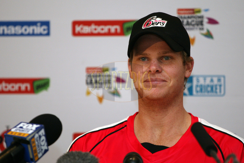 Steve Smith during a press conference of the Sydney Sixers in the Karbonn Smart CLT20 held at the Sandton Convention Centre in Johannesburg, South Africa on the 12th October 2012. Photo by Jacques Rossouw/SPORTZPICS/CLT20