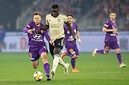 PERTH, AUSTRALIA - JULY 13: Perth Glory forward Chris Harold (14) battles Manchester United defender Axel Tuanzebe (38) for the ball during the International soccer match between Manchester United and Perth Glory on July 13, 2019 at Optus Stadium in Perth, Australia. (Photo by Speed Media/Icon Sportswire)