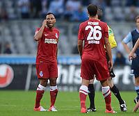 Fussball 2. Bundesliga:  Saison   2012/2013,    4. Spieltag  TSV 1860 Muenchen - MSV Duisburg    31.08.2012 Antonio da Silva und Tanju Oeztuerk (v. li., MSV Duisburg)