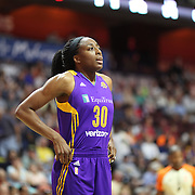 UNCASVILLE, CONNECTICUT- JULY 15:  Nneka Ogwumike #30 of the Los Angeles Sparks in action during the Los Angeles Sparks Vs Connecticut Sun, WNBA regular season game at Mohegan Sun Arena on July 15, 2016 in Uncasville, Connecticut. (Photo by Tim Clayton/Corbis via Getty Images)