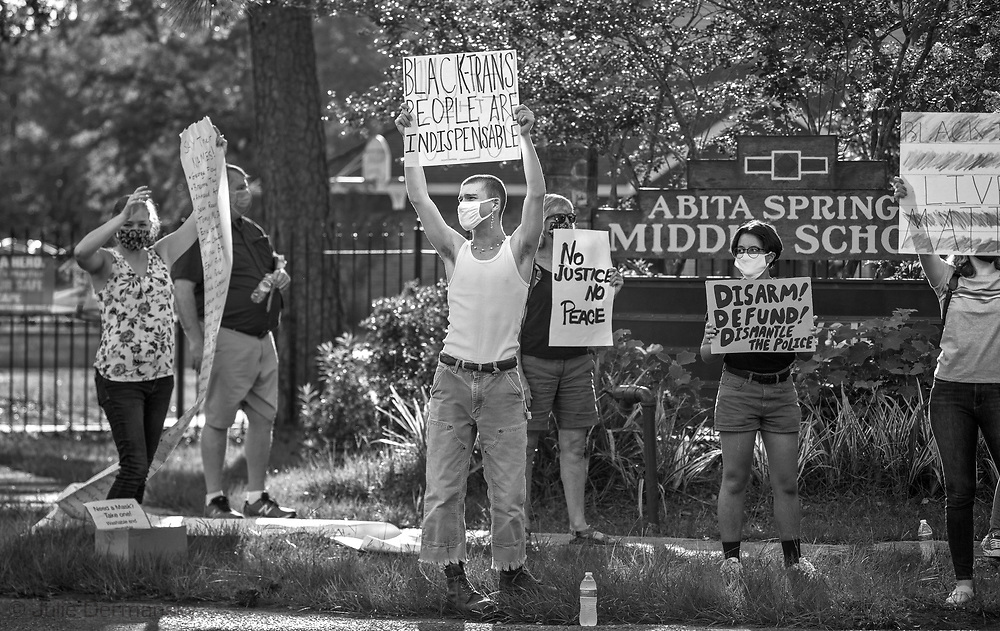 George Floyd solidarity protest in Abita Springs LA on June 13, 2020.