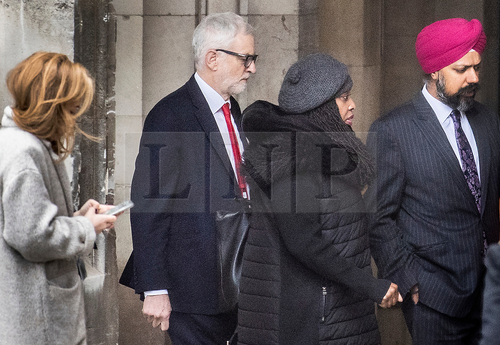 © Licensed to London News Pictures. 25/02/2020. London, UK. Labour Party Leader Jeremy Corbyn (2L) arrives at Parliament ahead of Prime Minister's questions. Photo credit: Peter Macdiarmid/LNP